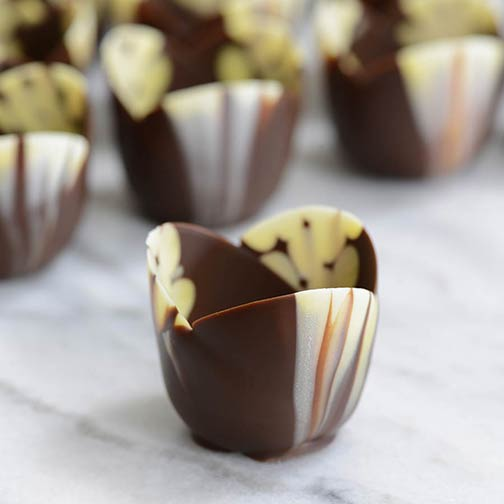 Marbled Chocolate Tulip Cup, Mini - 2 x 1 Inch